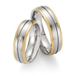 Snubní prsteny v kombinaci ocel se zlatem