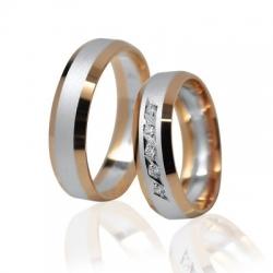 Pár zlatých snubních prstenů Ráj 1123BKO