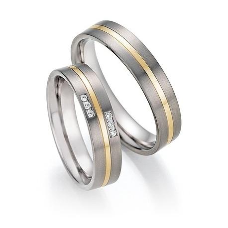 Snubní prsteny v kombinaci titanu se zlatem, od 4.999,- za kus