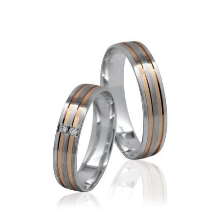 Pár zlatých snubních prstenů Ráj 1142EK