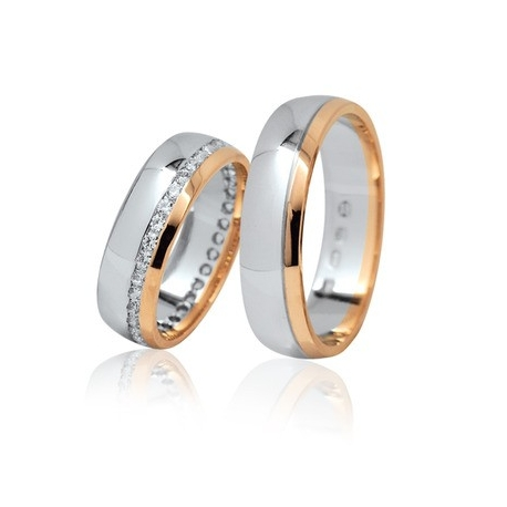 Pár zlatých snubních prstenů Ráj 1111LK
