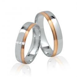 Pár elegantních zlatých snubních prstenů skladem 53+62
