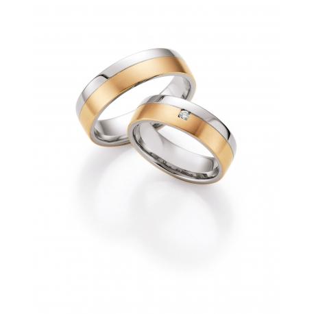 Snubní prsteny kombinace zlato a ocel s brilianty