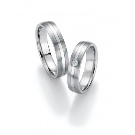 """Snubní prsteny z chirurgické oceli """"EVOLUTION"""" s briliantem"""