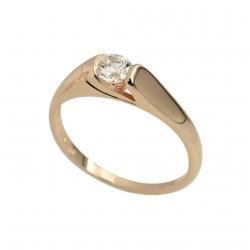 Zásnubní prsten z růžového zlata se zirkony