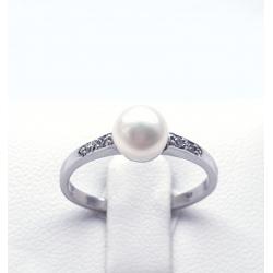 Zlatý prsten s říční perlou a zirkony