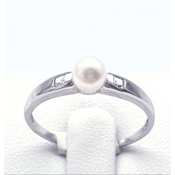 Zlatý prsten s říční perlou a zirkony vel 58