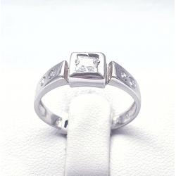 Prsten z bílého zlata se zirkonem