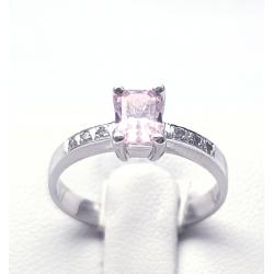 Prsten bílé zlato se zirkonem a růžovým kamenem