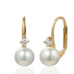 Briliantové náušnice s říční perlou a brilianty