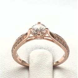 Zásnubní prsten z růžového zlata se zirkonem