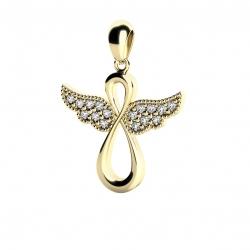 Zlatý přívěšek andílek z bílého zlata s brilianty