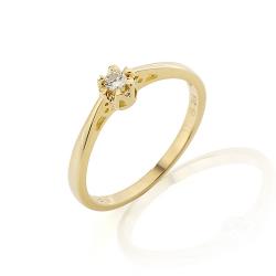 Zásnubní prsten s briliantem ze žlutého zlata