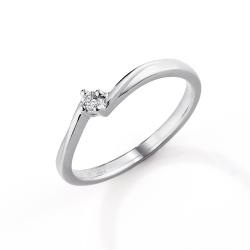 Zásnubní prsten s briliantem z bílého zlata