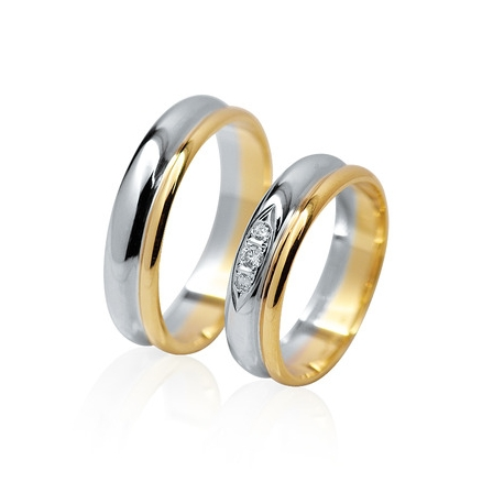 Pár zlatých snubních prstenů vel.58+62