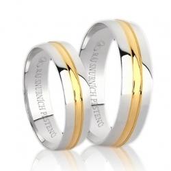 Pár zlatých snubních prstenů vel.52+63