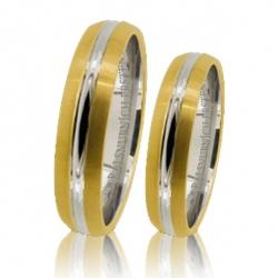 Pár zlatých snubních prstenů vel.52+62