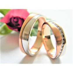 Pár luxusních zlatých prstenů velikost 53+62