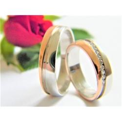 Pár luxusních snubních prstenů ze zlata velikost 53+63