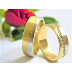 Pár luxusních snubních prstenů ze zlata velikost 53+60