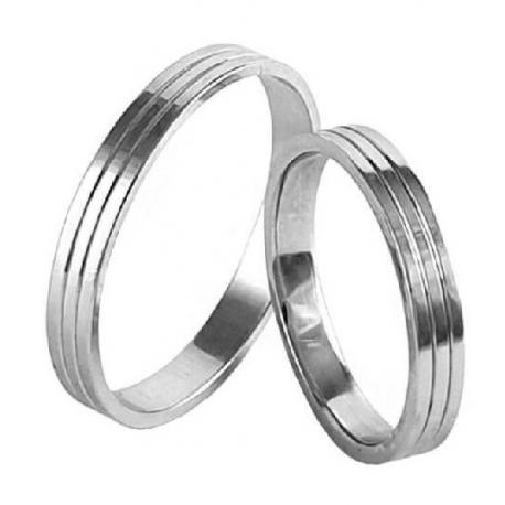 Zlaté snubní prsteny ROMANTIK WHITE vel. 53+63
