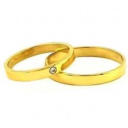 Briliantový pár zlatých snubních prstenů vel.55+63