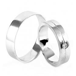 Zlaté snubní prsteny ROMANTIK WHITE vel. 49+62