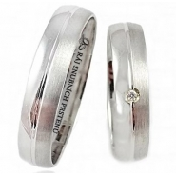 Briliantové zlaté snubní prsteny ROMANTIK WHITE vel. 52+63