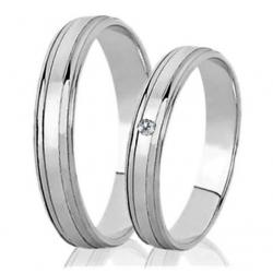 Briliantové zlaté snubní prsteny ROMANTIK WHITE vel. 52+62