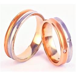 Pár designových zlatých snubních prstenů 54+62