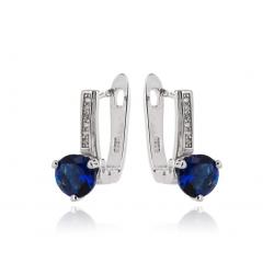 Stříbrné náušnice s bílými a modrými kamínky
