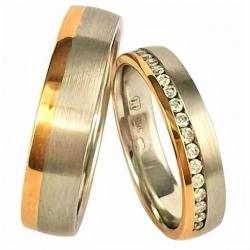 Ukázka moderních zlatých snubních  prstenů