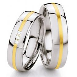 Kolekce snubních prstenů ocel + zlato s brilianty