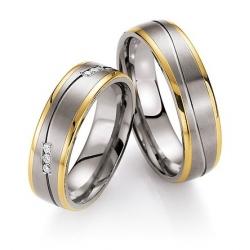 Kolekce snubních prstenů titan+zlato s brilianty